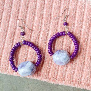 Handmade Round Purple Beaded Dangle Drop Earrings